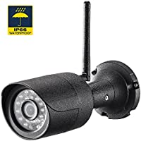 Rukerway Bullet Camera Waterproof IP66 Ourtoor IP Camera Wifi Super HD 1920x1080P Camera Built-in 8G TF Bullet Wireless Video Camera with IR Night Vision and Motion Detection (Black)