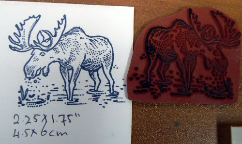 Moose rubber stamp, Cling Mounted