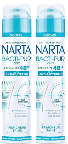 Narta - Deodorant for Women - Anti-Perspirant Spray - Bacti-Pur Healthy Freshness - Effective 48h - 200 ml - Pack of 2