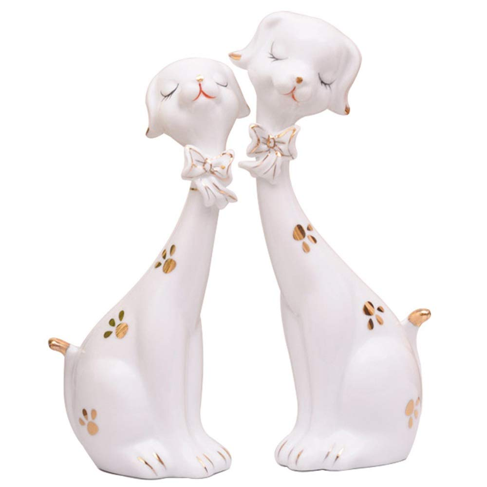 Exquisite Decoration Modern Ceramic Home Accessories Creative Living Room Wine Cabinet Simple Semi-Manual Puppy Furnishings New House (Color : White) by LCLZ