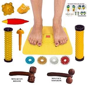 Mat acupresión con imanes Pirámides para el alivio del dolor y Salud Total Tamaño 12x12.5 pulgadas con kit de masajeador tabla y mano reflexología libre