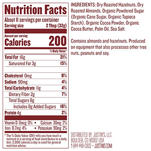 Justin's Chocolate Hazelnut & Almond Butter, Organic Cocoa, No Stir, Gluten-free, Responsibly Sourced, 16oz Jar