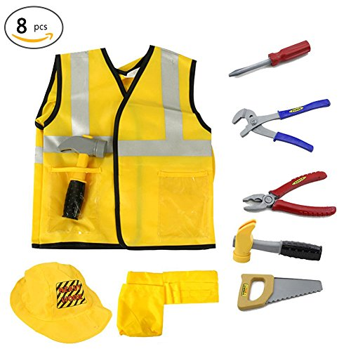 Kid Costume Construction Worker Role Play Kit Engineering