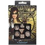 Q-Workshop Steampunk Clockwork Caramel & White Dice Set (7 Piece) 6