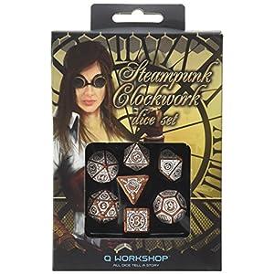 Q-Workshop Steampunk Clockwork Caramel & White Dice Set (7 Piece)