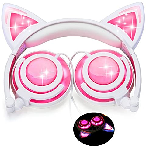 [Upgraded Version]Cat Ear Kids Headphones USB Rechargeable&LED Light Up Foldable Over Ear Headphones Headsets for Girls,Boys,Compatible for iPad,Kids Tablet (001New - Friendly Cat