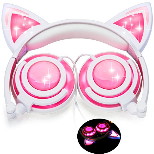 Kids Cat Ear Headphones with Glowing LED Light USB Rechargable 85dB Volume Limited Adjustable Headband 3.5mm Jack Over/On Ear Earphones Foldable Game Headset for Girls Boys Toddlers Phone Tablets