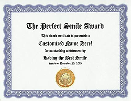 amazon com the perfect smile award personalized custom best smile