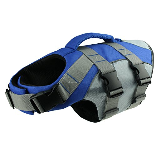HOLDOOR Sports Style Dogs' Life Jacket with Rescue Handle and Reflective Trim - for Small, Medium and Large Breeds - Adjustable, Buoyant, Abrassion-Resistant, Ripstop by HOLDOOR