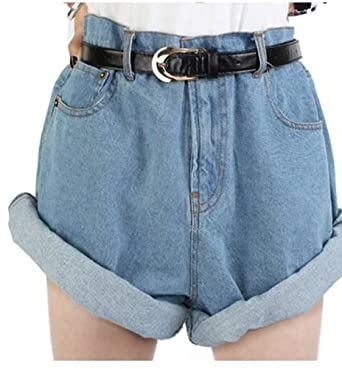 High Waist Baggy Oversized Boyfriend Blue Denim Roll Turn-up Retro ...