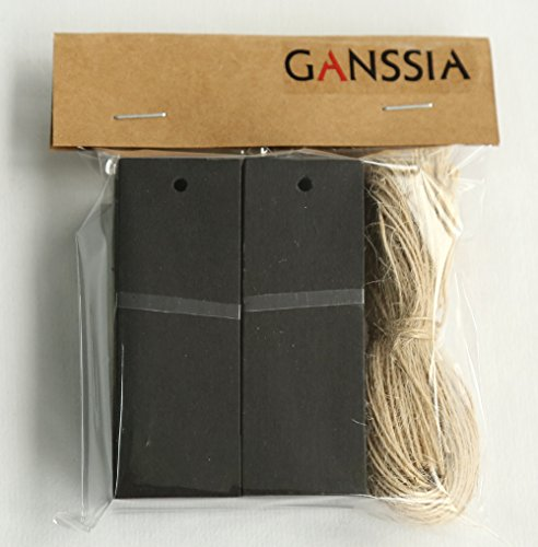 GANSSIA Rectangle Shape Black Hang Tag for Garment with Free Cut Strings Pack of 100 Pcs 1.063.07 Inch (2.77.8cm)