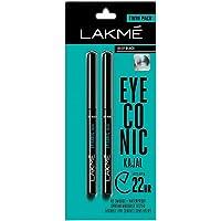 LAKMÉ 2 X Eyeconic Kajal Twin Pack, Black, 0.35g + 0.35g - India