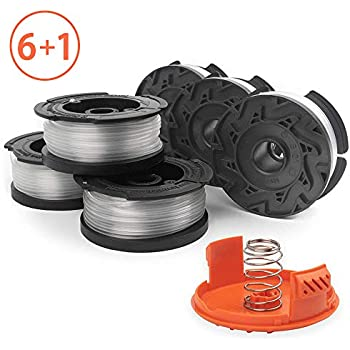 X Home Weed Eater Spools Compatible with Black and Decker GH600 GH900 String Trimmer Edger, 30ft 0.065 inch Spool Refills Line, RC-100-P Spool Cap Covers (6 Spools, 1 Cap,1 Spring)