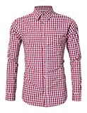GloryStar Men's Casual Slim Fit Plaid Shirt Button Down Dress Shirts for German Bavarian Oktoberfest and Lederhosen (2XL, Red-New)
