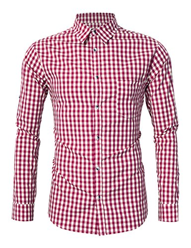 GloryStar Men's Casual Slim Fit Plaid Shirt Button Down Dress Shirts for German Bavarian Oktoberfest and Lederhosen (2XL, Red-New) by GloryStar