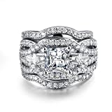 3 PCS Platinum Plated Princess Cut Synthetic Diamond Halo Cubic Zirconia CZ Infinity Wedding Bridal Ring Set (9)