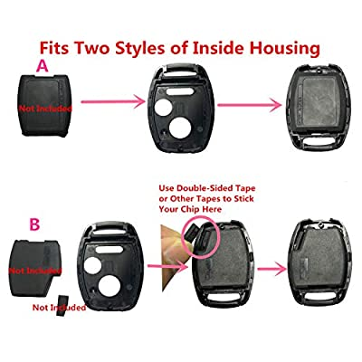Horande Keyless Entry Key Fob Case Shell fits for Honda 2007 2009 Accord 2007 Civic 2008 2011 CR-V Pilot Ridgeline CR-Z Fit Odyssey Key Fob (Pack 2): Automotive