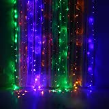 Window Curtain Icicle Lights with 8 Modes, LIYUDL 9.8ft x 6.6ft, 224 LED Curtain Fairy String Light Waterproof for Indoor Outdoor Wedding Party Backdrops (Colorful)