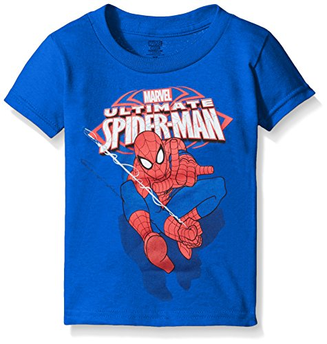 Marvel Little Boys' Toddler Ultimate Spiderman Swinging Short Sleeve T-Shirt, Royal, 3T