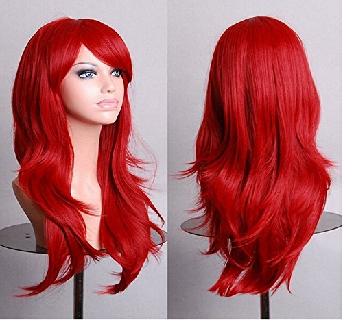 Mens Red Ponytail Wig (Loviness 28 inches Women's Hair Wig Heat Resistant Cosplay Long Wavy Hair Wig with Wig Cap Party Wig-Red)
