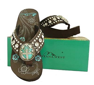 Montana West Ladies Flip Flops Turquoise Stone Pewter Cross Concho Coffee