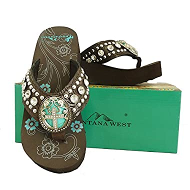 bcdb4698067fd Montana West Ladies Flip Flops Turquoise Stone Pewter Cross Concho Coffee