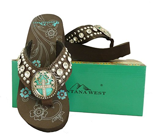 Montana West Ladies Flip Flops Turquoise Stone Pewter Cross Concho Coffee, 7 M US