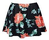 Cocoship Black & Pink Carnival Floral Women's Plus Size Elegant A-line Skirted Bikini Bottom Skirt Swimsuit 20(FBA)
