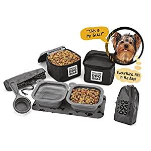 Dog Travel Food Set For Small Dogs (Black) - 7pk Including Collapsible Bowls, Carriers, Scooper, Place Mat, Bag