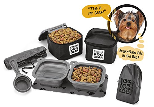 - Dog Travel Food Set For Small Dogs (Black) - 7pk Including Collapsible Bowls, Carriers, Scooper, Place Mat, Bag