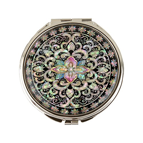 MOP Antique Round Compact Magnifying Make up Double Sided Mirror Mother of Pearl Art Arabesque