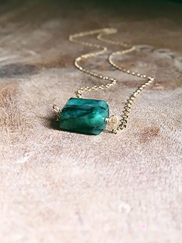 "Green Emerald Gemstone Necklace 16"" 14K Gold Filled"