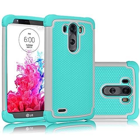 LG G3 Case, Tekcoo(TM) [Tmajor Series] [Grey/Turquoise] Shock Absorbing Hybrid Rubber Plastic Impact Defender Rugged Slim Hard Case Cover Shell Skin For LG G3 AT&T T-mobile Sprint Verizon (Lg G3 Phone Casing)
