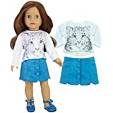 Sophias 18 Inch Doll Stylish 2 Pc. Outfit of White Snow Leopard Tee & Teal Suede Skirt with Buttons.Doll Cat Shirt and Doll Skirt Set for American Girl Dolls and More!