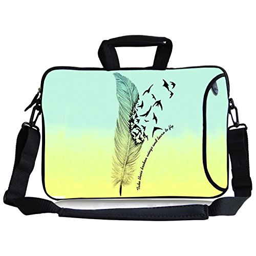 Inches Take These Broken Wing and Learn To Fly Waterproof Neoprene Laptop Sleeve Case Bag Handbag Soft Carrying Handle & Removable Shoulder Strap for 12.5 to 13.3 inch Laptop Chromebook Ultrabook Macbook Pro Air HP Dell Acer Sony Lenovo (Ibook Display)