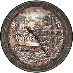 Rivers Edge Products Cabin Scene Rusty Metal Clock, 15-Inch