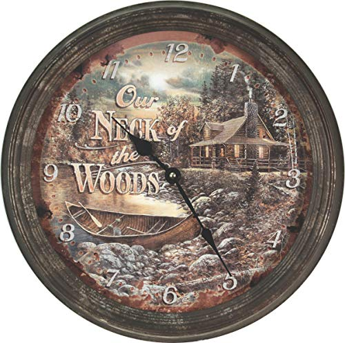 Rivers Edge Products Cabin Scene Rusty Metal Clock, ()