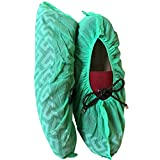 (100-Pack) Shoe Covers - Disposable Boot & Shoe Cover, Recyclable, Heavy Duty Indoor/Outdoor, Non Slip, Carpet & Floor Protection, Stretchable One Size Fits Most