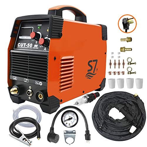 Plasma Cutter, 50A Inverter AC-DC IGBT Dual Voltage (110/220V) Cut50 Portable Cutting Welding Machine With Intelligent Digital Display With Free Accessories Easy Cutter Welder (Best Cheap Plasma Cutter)