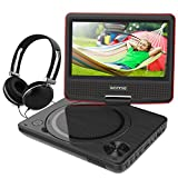 WONNIE 7.5 Inch Portable DVD Player for Car with 4 Hour Rechargeable Battery, USB / SD Slot, for Kids ( Red )