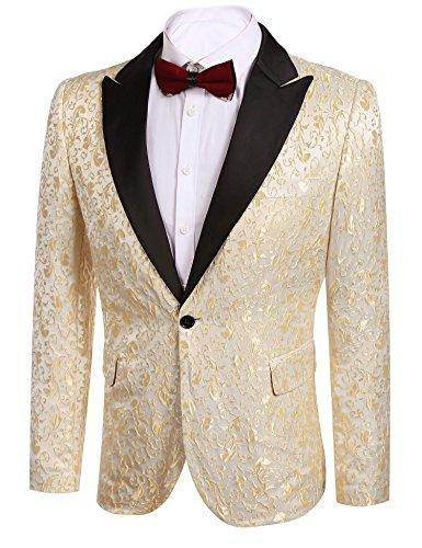 Donet Men's Floral Party Dress Suit Notched Lapel Stylish Dinner Jacket Wedding Blazer Prom Tuxedo Gold Medium