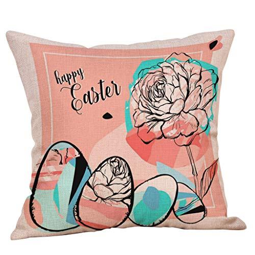 Happy Easter Bunny Pillow Cover Linen Sofa Cushion Cover Home Decor Pillow Case(3-C,Size:45cm45cm)