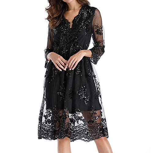 - Cocktail Dress for Women Evening,SMALLE◕‿◕ 2019 Womens Double Layer Glittery Deep-V Vintage A-Line Dress Party Black