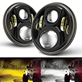 2PCS Round 7'' LED Headlight with WHITE & AMBER Low Beam for Jeep Wrangler JK TJ LJ CJ Hummber H1 H2 MINGLI Black 7 Inch CREE LED Daymaker Headlights for Jeep Wrangler 97-2017 JK TJ LJ