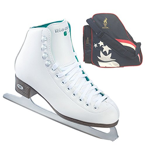 Riedell Model 10 Opal / 110 Opal Ice Skates and a FREE Atlanta Olympics Skates Bag (9 Toddler)