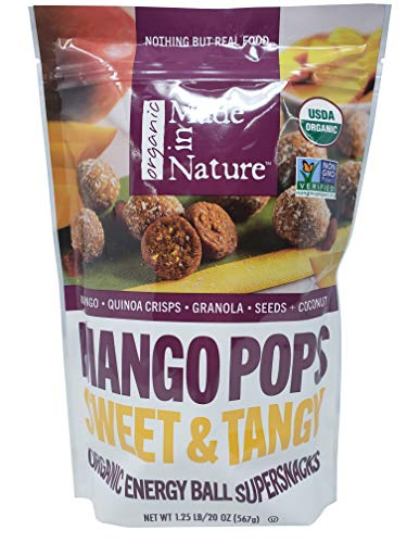 Made in Nature Organic Mango Pops Sweet & Tangy Energy Ball Super Snacks 1.25 LB