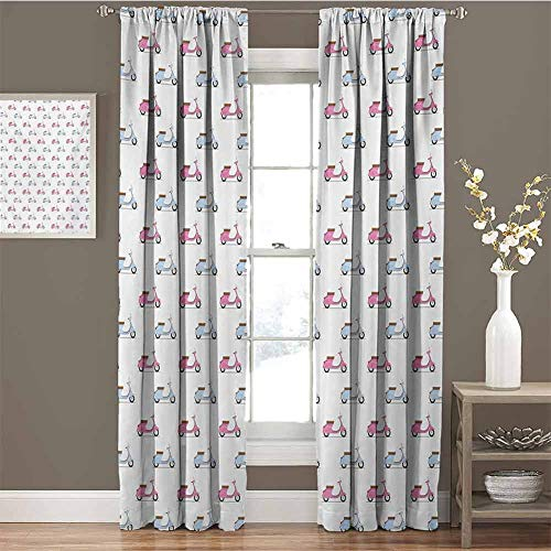 GUUVOR Motorcycle Room Darkened Curtain Classic Pink and Blue Mopeds in Symmetrical Positions Retro Bike Ride Insulated Room Bedroom Darkened Curtains W54 x L63 Inch Pale Pink Baby Blue (Best Retro Bikes In India)