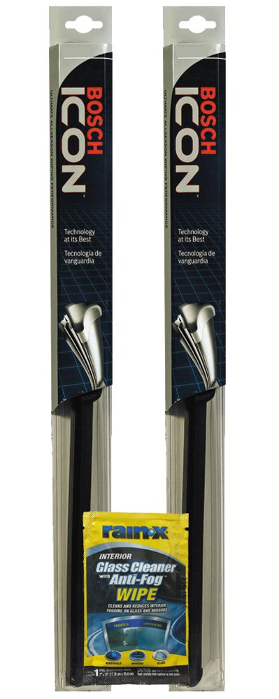 Bosch 22 icon wiper blade bundle with rain x glass cleaner wipe 3 items for Rain x interior glass anti fog