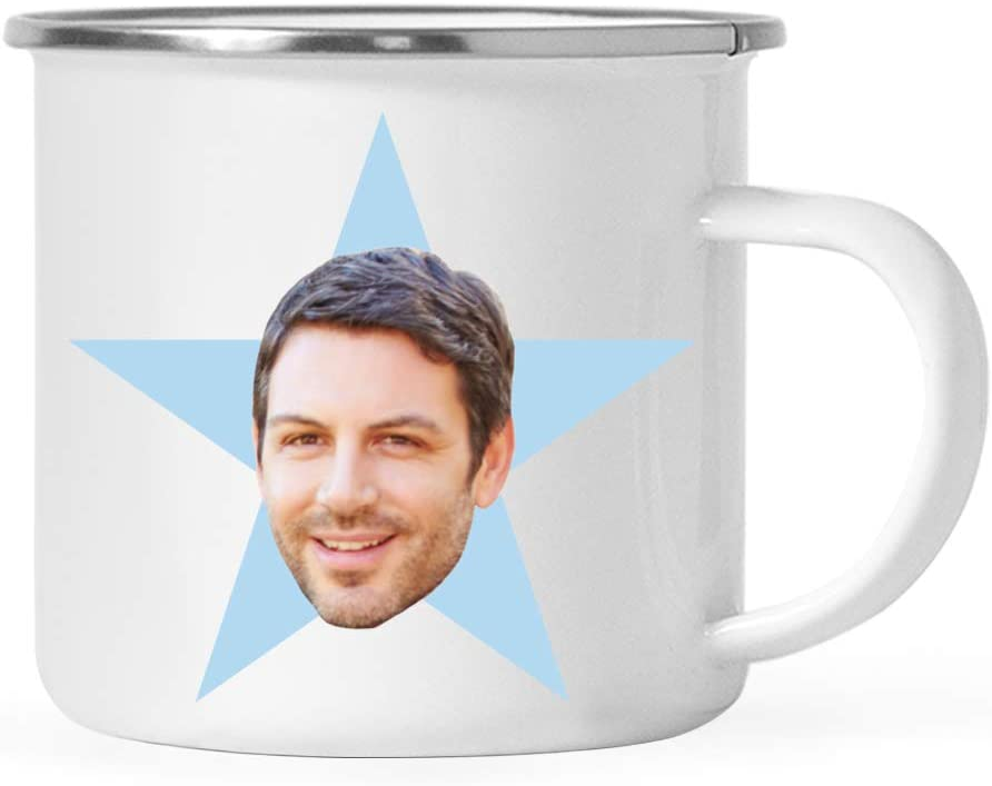 Andaz Press Personalized Blue Star Photo 11oz. Stainless Steel Campfire Coffee Mug Gift, Your Face Picture on Blue Star, 1-Pack, Custom Customizable Mug for The Office Coworker, Retirement
