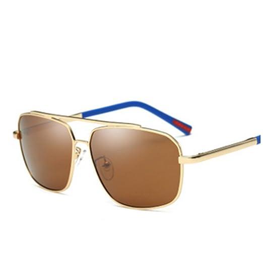 verres Hommes Mens polarized lunettes de soleil,Armature en métal Grosses lunettes-A